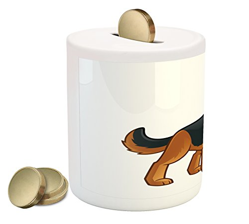 German Shepherd Coin Box Bank by Lunarable, Friendly Dog of Alsatian Breed Playful Cartoon Character for Kids, Printed Ceramic Coin Bank Money Box for Cash Saving, Pale Brown Black Red (Gift Shepherd Box Red)