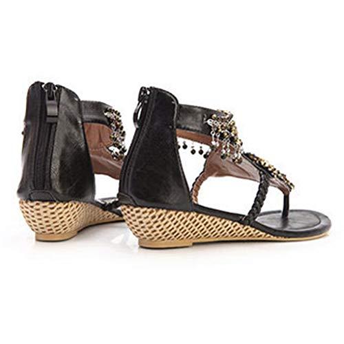 Femmes Cheville Élégantes Femmes Chaussures Tongs Noir D'été Meibax Pantoufles Plat Bohemian Sandales Plage Roman Casual 0zRwZWq