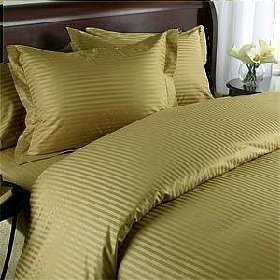 Egyptian Bedding 1000 Thread Count Queen Siberian Goose Down Comforter 8 PC 1000TC Bed in a Bag, Brown Damask Stripe 1000 ()