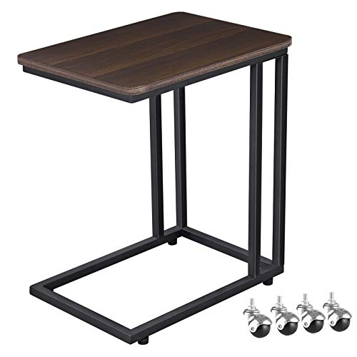 VASAGLE Mobile Snack Table Sofa Side Table for Coffee or Laptop with Metal Frame and Casters Modern Piece ULNT50Z