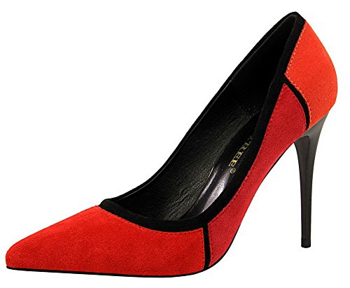 Women's WeiPoot Toe On Pull Suede Pumps Red Shoes Assorted Color Pointed Imitated 47wZ7q