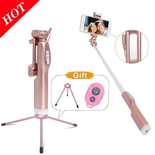 MKDGO Self-shooting stick 360 Degree LED Bluetooth wireless tripod remote control assist light back mirror with aluminum alloy light function with rotation iPhone / Android compatible rose gold