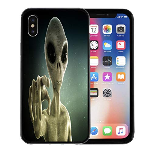 Emvency Phone Case for Apple iPhone Xs case,Gray UFO Alien 3D Blue Extraterrestrial Roswell Eye Halloween for iPhone X Case,Rubber Border Protective Case,Black -