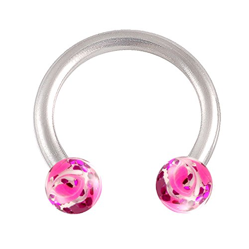 Acrylic Circular Barbell - bodyjewellery Septum Cartilage Earring 16g Surgical Steel 5/16 8mm Horseshoe Circular Barbell Lip Tragus Hoop Nose Ring Piercing 10