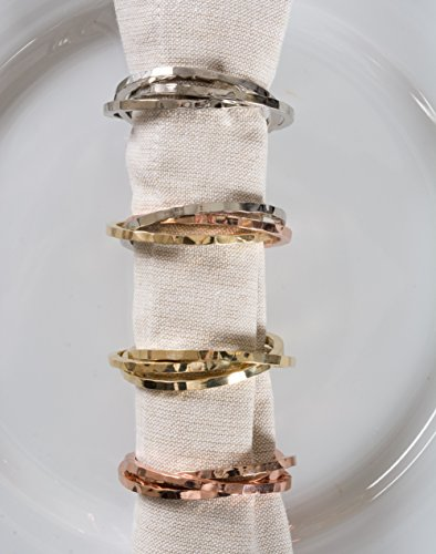 DII Napkin Rings for Family Dinners, Weddings, Outdoor Parties or Everyday Use - Gold Intertwined, Set of 6 by DII (Image #5)