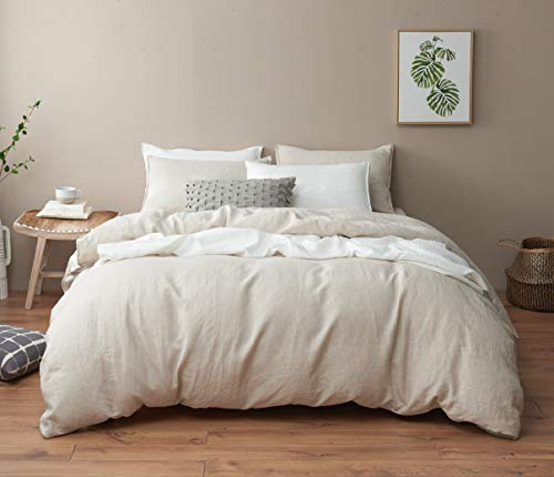 DAPU Pure Stone Washed Linen Duvet Cover Set 100% French Natural Linen European Flax (Full/Queen, Natural Linen, Duvet Cover and 2 Pillowcases ()