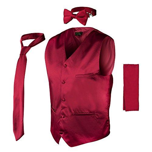 Vittorino Vittorino's Mens 4 Piece Formal Vest Set Combo With Tie Bow Tie and Handkerchief, Burgundy, (Formal Vest Set)