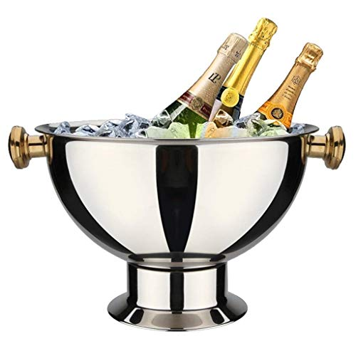 SHIJIAN Round Beverage Tub |Stainless Steel | Ice Bucket | Metal Drink Cooler | House Party | Handles Small Container With Gold-plated Ears