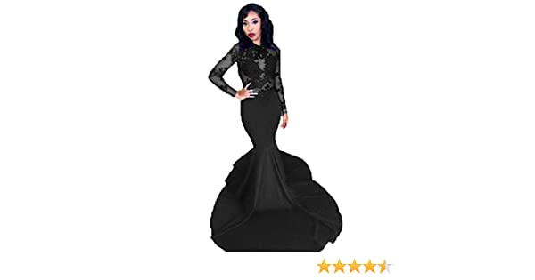 cad5d78007 Graceprom 2019 Long Sleeves Mermaid Prom Dresses Maxi Satin Lace Appliques  Party Evening Dress Royal Blue at Amazon Women s Clothing store