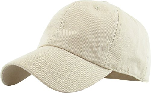 (KB-LOW IVO Classic Cotton Dad Hat Adjustable Plain Cap. Polo Style Low Profile (Unstructured) (Classic) Ivory Adjustable)