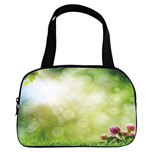 Multiple Picture Printing Small Handbag Pink,Nature,Fresh Spring Meadow with Blooming Wild Flowers Soft Blurry Morning View Decorative,Green Light Yellow Pink,for Girls,Comfortable Design.6.3