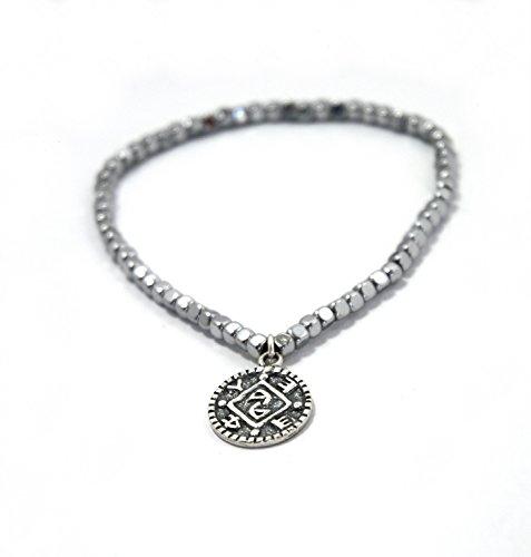 MIZZE Jewelry Magnetic Hematite Charm Bracelet with King Solomon Positive Changes Silver Amulet for Women - Energy Bracelet Adjustable Size 6.5