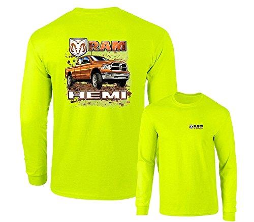 "Lucky Ride Dodge RAM Hemi ""Orange"" Truck Long Sleeve T-Shirt Front & Back, Safety Green, XL"
