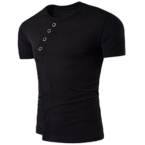 Asimétrica para OverDose Camiseta hombre Negro sólido camiseta manga verano corta zqqd4x6