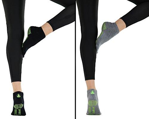 FITLEAF Bamboo YOGA SOCKS – Non Slip Grip for Pilates Barre, Dance – 2 PAIRS