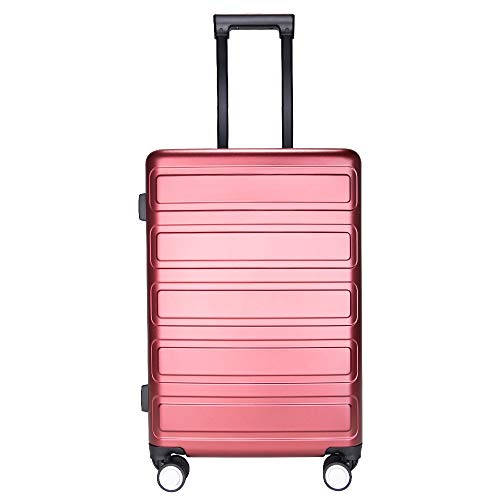 SHOWKOO Carry on Luggage Polycarbonate Durable Hardshell & Lightweight Suitcase Double Wheels TSA Lock City Fashion (Red Wine, 20inch)