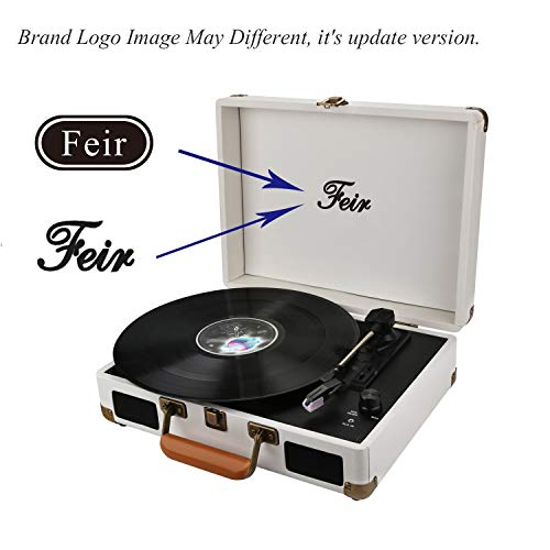 Vinyl Stereo White Record Player 3 Speed Portable Turntable