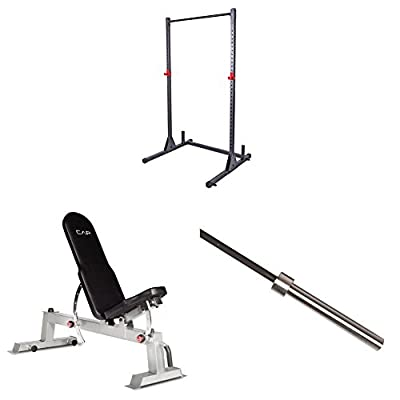 CAP Barbell Power Rack Exercise Stand, Deluxe Utility Weight Bench, and Olympic Bar (2-Inch, 1200-Pound Capacity, 7-Feet) Bundle