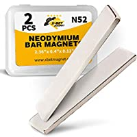 Neodymium Bar Magnets - Rare Earth Magnets Super Strong - N52 Grade (Ndfeb) - 2 Block Magnets in Box