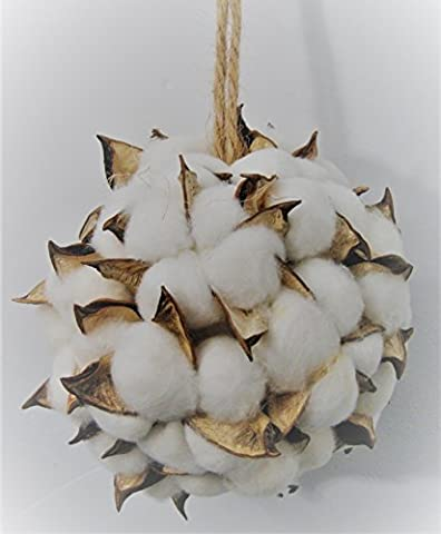 Snowy White Cotton Ball & Natural Pod Christmas Ornament - Winter Ball Natural