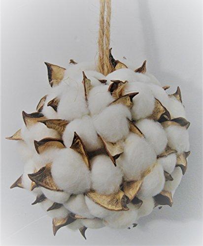 Cotton Christmas Ornaments - Snowy White Cotton Ball & Natural Pod Christmas Ornament