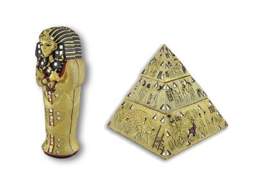 Egyptian King Tut Sarcophagus and Golden Pyramid Trinket Box Set