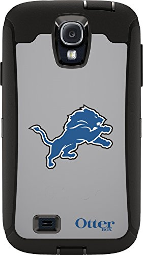 Otterbox Defender Case For Samsung Galaxy S4   Retail Packaging   Nfl Lions  Black  Detroit Lions Nfl Graphic