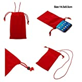 DFV mobile - Case Cover Soft Cloth Flannel Carry Bag with Chain and Loop Closure for => HTC ONE M9 M9S (2015) > Red