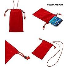 DFV mobile - Funda de Tela en Paño Suave con Cierre por Lazo y Colgante de Cuello para => LG OPTIMUS L9 > Roja