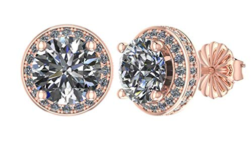 NANA Sterling Silver & 14k post Swarovski CZ Round Halo Stud Earrings- 7.5mm-3.50cttw -Rose Gold Plated -