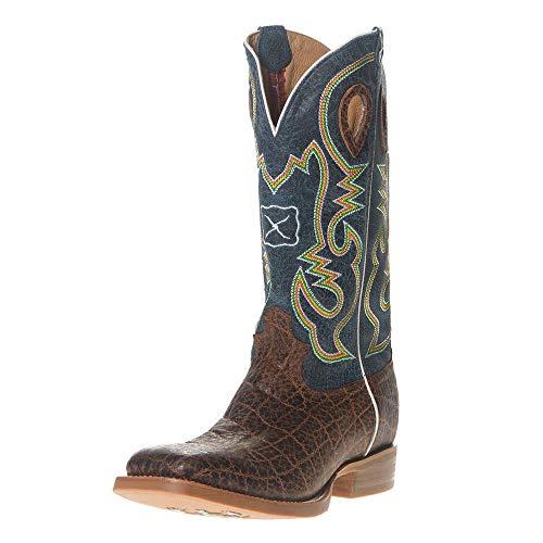 Twisted X Men's Ruff Stock Elephant Print Cowboy Boot Square Toe Cognac 10.5 D
