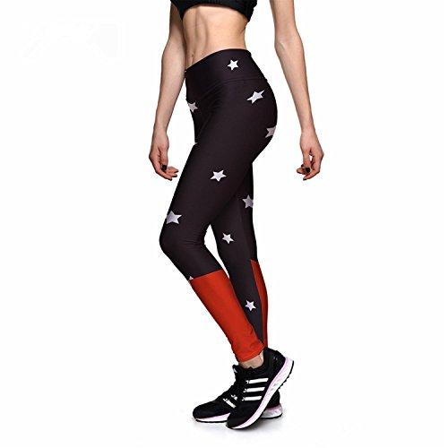YUZHONGYWAN Cosy Women's Black&Red Stitching Shine Star 3D Print High Waist Pants (Pocket Star Ri)