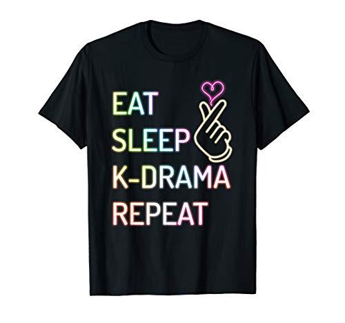 (Eat Sleep K-drama Repeat Finger Heart T-shirt)