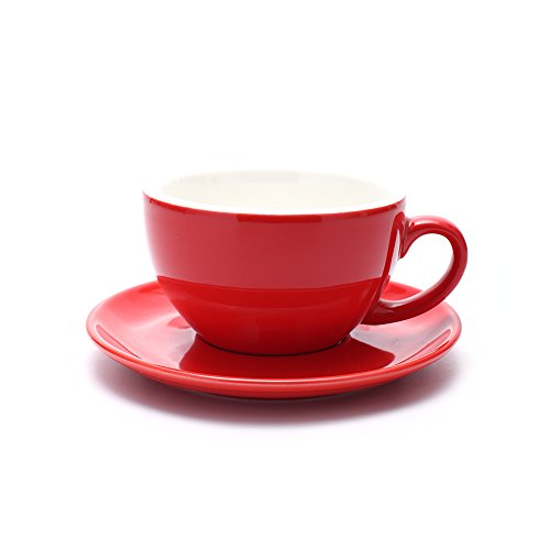 Coffeezone Americano Cup and Saucer, 3 Capacity to Choose Latte Art Cappuccino for Coffee Shop and Barista (Glossy Red, 8.5 ()