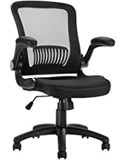 LANGRIA Mesh Office Chair, Ergonomic Mid-Back Design, Swivel Computer Chair with Flip up Armrests for Study Room Home Office (Black)