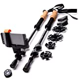 RikkiTikki Carbon Fiber Trekking Poles - Lightweight Collapsible Walking Poles with Cork Grips, Quick Locks, Carry Bag -...