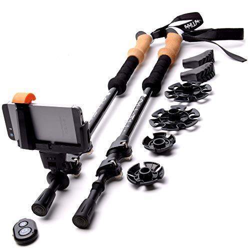 RikkiTikki Carbon Fiber Trekking Poles - Lightweight Collapsible Walking Poles with Cork Grips, Quick Locks, Carry Bag - Bonus: Selfie Shutter with Camera Mount
