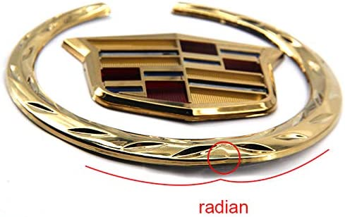 Gold Guzetop 4 3D Wreath Crest Rear Grille Emblem Sticker Hood Badge Logo Decal for Cadillac