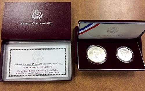 (1998 S Kennedy Memorial Collector's 2-Piece Set with Matte Finish Half and Silver Dollar Original Box with)