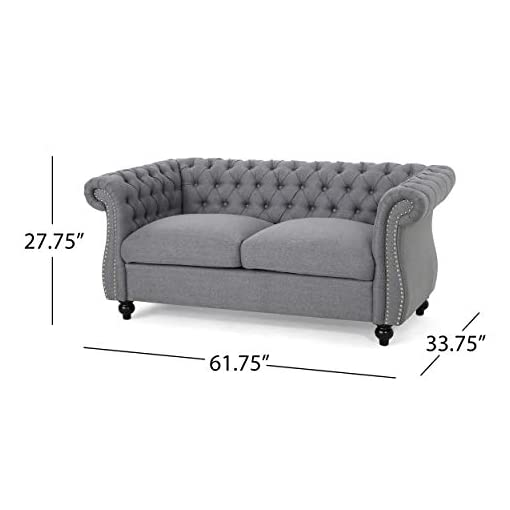 Farmhouse Living Room Furniture Christopher Knight Home Kyle Traditional Chesterfield Loveseat Sofa, Gray and Dark Brown, 61.75 x 33.75 x 27.75 farmhouse sofas and couches