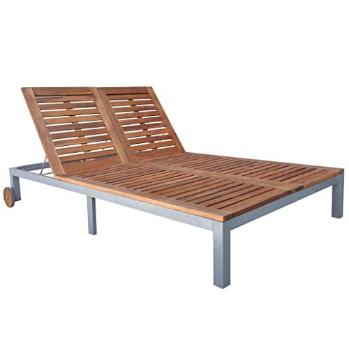 Patio Outdoor Wooden Daybed Elegant Double Chaise Garden Acacia Wood Sun Lounger Durable Wood Wheel Sturdy Metal Frame Comfortable Pool 2 Person Sunbed (Full Size Chaise Lounge)