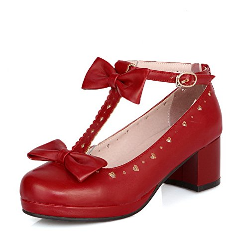 BalaMasa da donna kitten-heels D anello materiale morbido t-strap pumps-shoes, Rosso (Red), 35