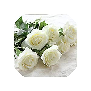 Artificial Flowers Rose Flowers Wedding Bouquet Home Party Fake Flowers Decor Rose Party,Ivory 104