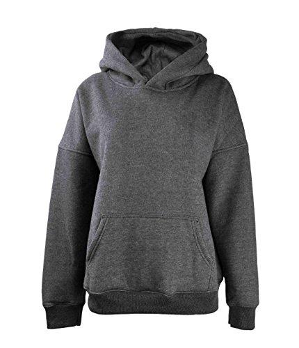 ZLYC Women Basic Sweatshirts Fleece Hoodie Sweatshirts Pullover Sweater with Kangaroo Pocket, Dark Gray