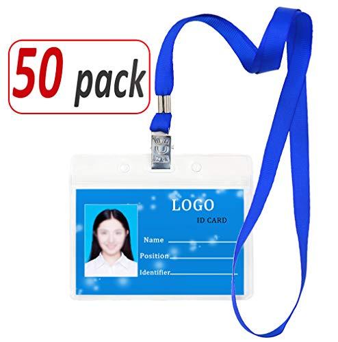 Aobear 50 pcs Upgrade Top Quality Waterproof Transparent Horizontal Name Tag id Badges and 50 pcs lanyards (Blue) ()