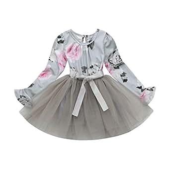 K-youth® Vestidos Niña Wedding Party Birthday Dress Tutú Princesa Vestido de Fiesta Ropa Bebe Niña Recién Nacido Barata 2018 Ofertas Vestido Niña (Gris, 1-2 años)