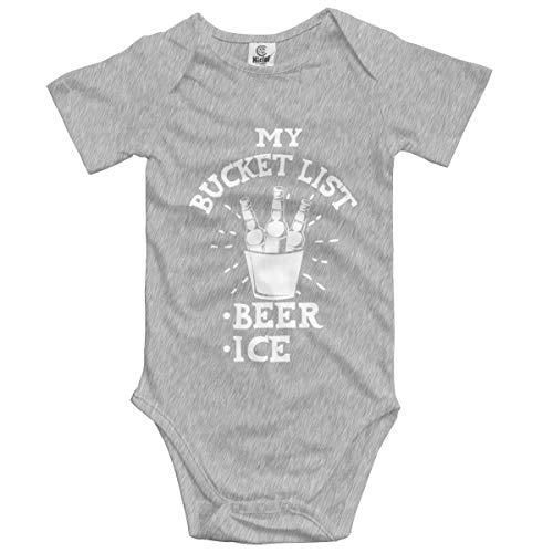 (My Bucket List - Beer Ice Infant Short-Sleeve Bodysuit for Baby Boys Gray)