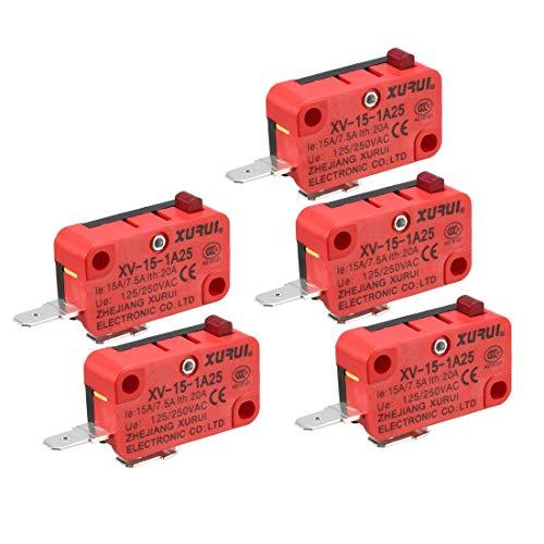 250 VAC 16A XURUI 6Pcs XV-155-1C25 Short Hinge Lever Type SPDT Micro Switch
