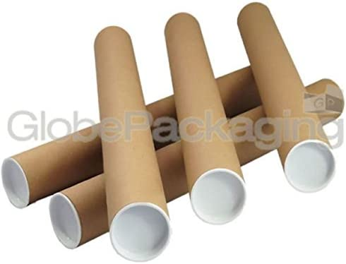 230x50mm Postal Tubes Prints Maps Arts Work Mailing with White End Caps Strong Brown Cardboard A4 9 25 Postal Tubes