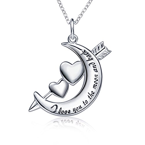 Apotie 925 Sterling Silver Love Heart with angel Cupid's arrow Jewelry Pendant Necklace gift for women ()